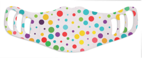 A washable and reusable polyester colorfull polka dots printed cloth face mask for kids, with three ear holes by each side